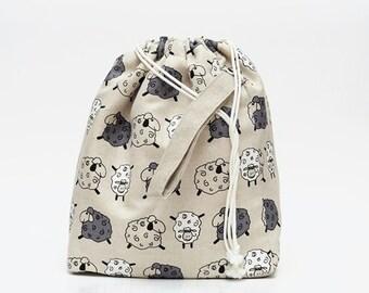 LARGE Drawstring Knitting Project Bag. SHEEP. Special KnitterBag design. Spindle bag Chrocket Organizer Knitting Project Bag WIP bag