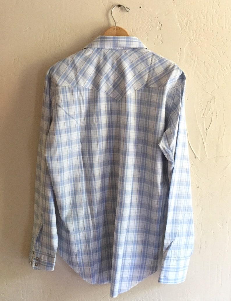 Vintage Panhandle Slim Western Shirt Large Blue and Brown Plaid