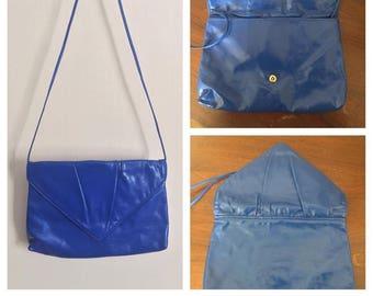 Blue Vintage Envelope Purse // Blue Cross body Bag // Brilliant Blue Handbag