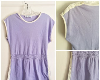 Vintage Lavender Romper with White Piping // 70s Romper // Purple and White Shortall  // California ROC