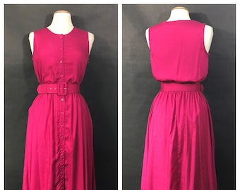 Deadstock Fuschia Dress with Matching Belt by IVY Impressions // 90s Pink Dress Button Up, Belted // New With Tags