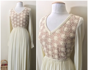 70s Cream Maxi Dress with Crocheted Bodice and Vest  by Future Couture by New  York// 1970s Ivory Maxi Crochet Set and Jacket, Beige