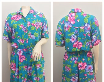 Blue Tropical Romper // Pink and Purple Floral Print // SK Wear