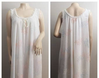 60s/70s Nightgown by Val Mode // Cream Ivory  with Florals