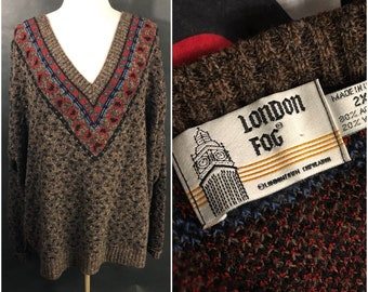 Vintage London Fog Brown Wool Sweater Size 2X // Plus Size Unisex Bown, Red, and Blue Oversized Sweater