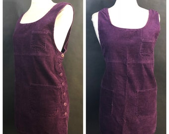 Purple Corduroy Jumper Dress Size XL // Purple Overall Jumper Dress Plus Size