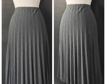 Charcoal Pleated Wool Skirt by Take One // Gray Accordion Skirt