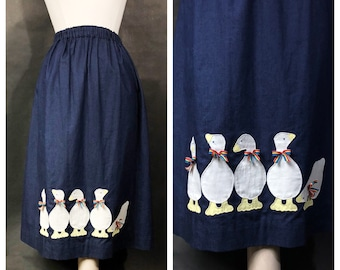 Soft Denim Midi Skirt with Ducks in Rainbow Ribbons //  Novelty Duck Design // Rainbow, Jean Skirt