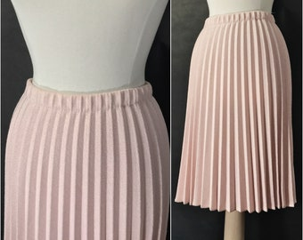 Pink Pleated Wool Skirt by Take One // Rose Accordion Skirt