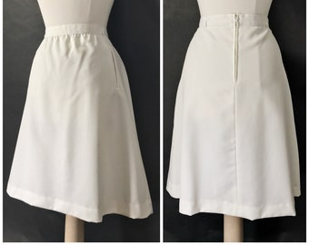 White A Line Skirt by Panther // Vintage White Skirt