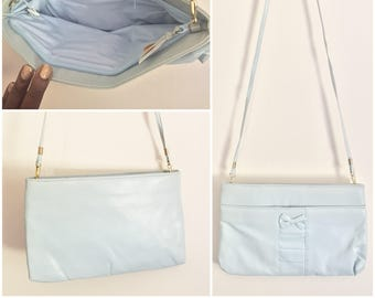 Sky Blue Crossbody Bag // Blue Purse with Bow // Blue Clutch Purse