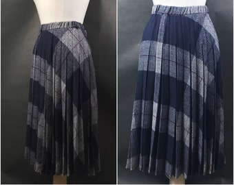 80s Blue, Red, and White Plaid Skirt by Item Eyes // Wool Blend Plaid Skirt