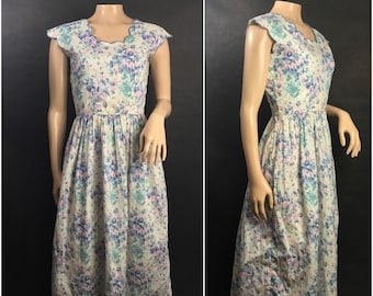 80s Floral Dress by Kathryn Conover size 6 // Floral 1980s, 1990s Dress, Scalloped Neckline