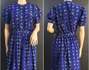 Purple Geometric Print Dress by Maggy Boutique, Galleria LTD // 80s Purple Shirt Dress