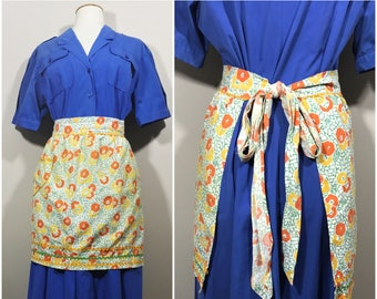 Orange, Yellow, and Green Floral Apron with Ric Rac Trim // 70s Handmade Apron