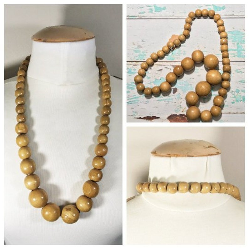 Wooden  Beaded Necklace // Long Vintage Brown Bead Necklace image 0