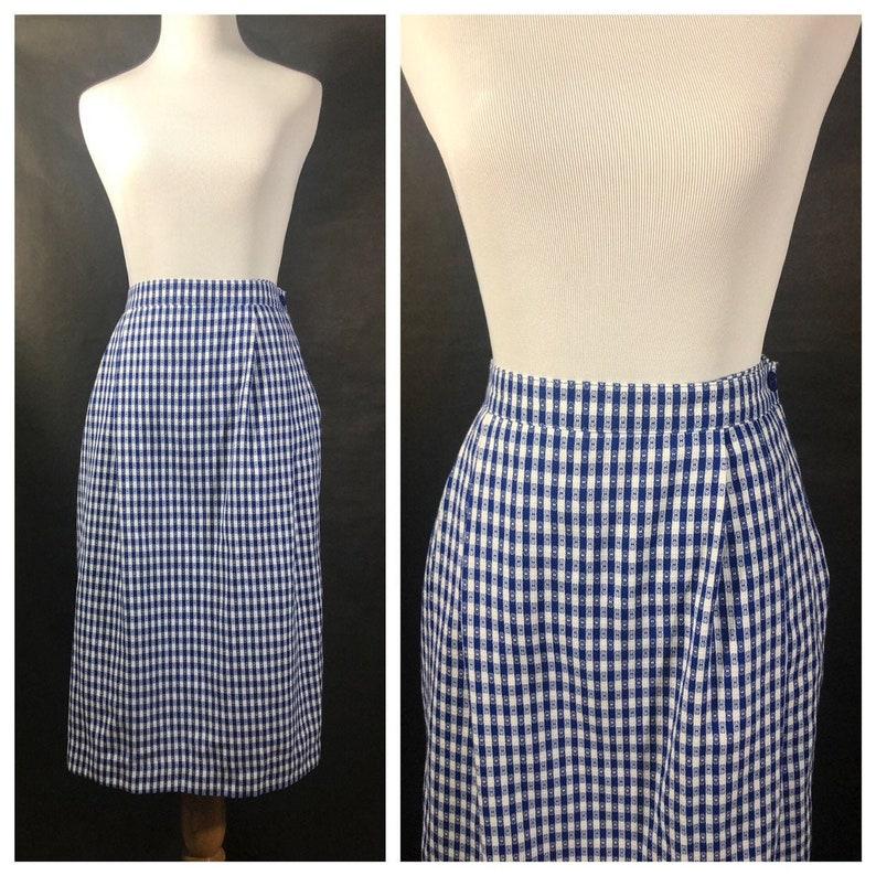 Joan Leslie Blue and White Gingham Skirt image 0