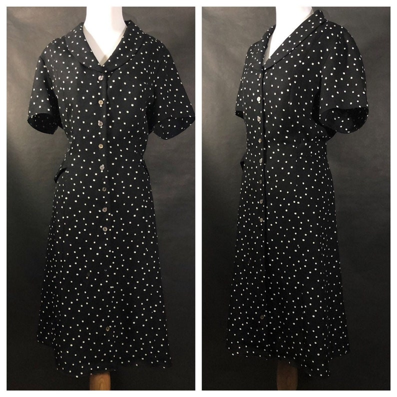Black and White Polkadot Button Down Dress with Waist Tie image 0