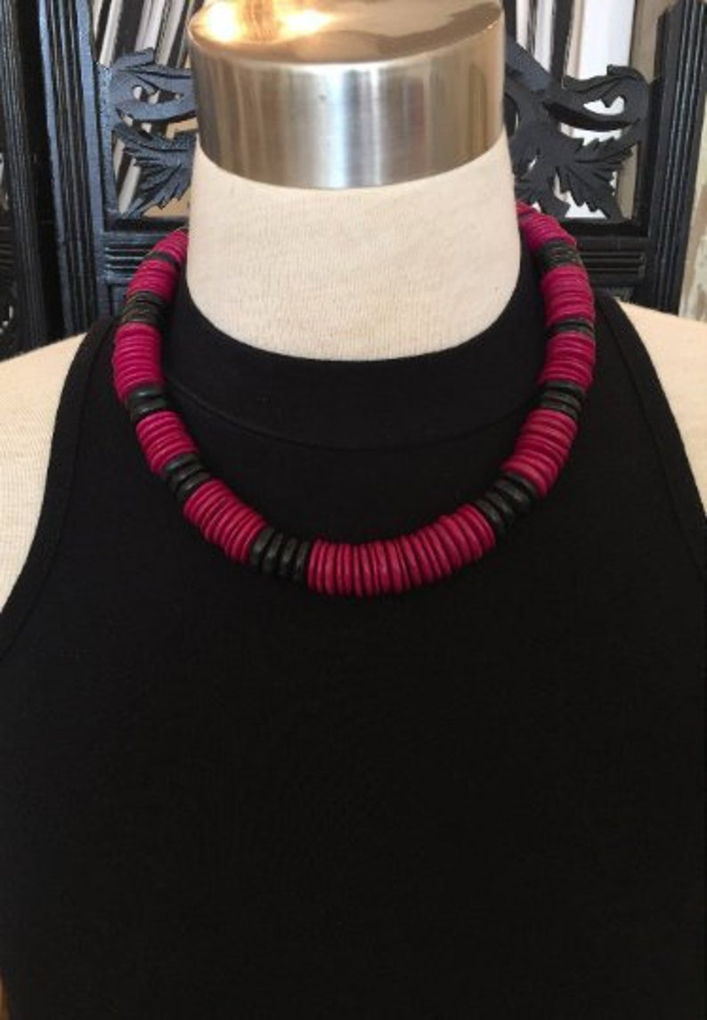 1980s Black Beads and Fuchsia Disc Necklace // 80s Pink and image 0
