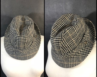 Vintage Men's Plaid Fedora Hat Made by Country Gentleman // Wool Fabric Woven in England, Made in USA , Trav'ler