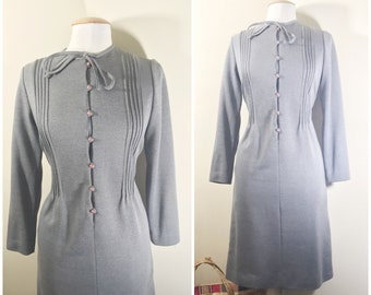 Gray Long Sleeved Dress by Tanner Petites // Grey Dress, Button up and Ties at Neck