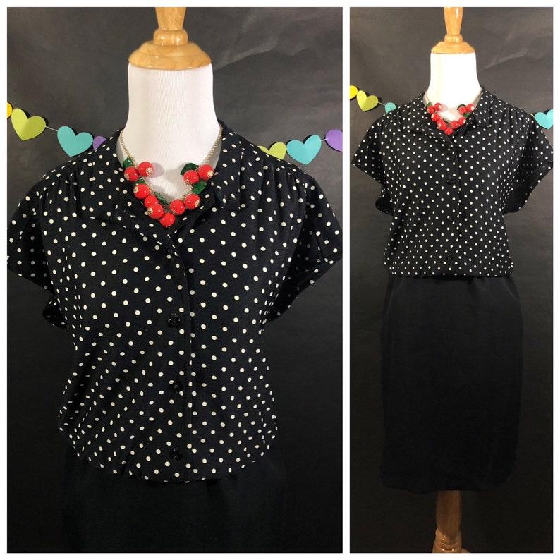 Black and White Polkadot Dress Polka dot Bodice Black Skirt image 0
