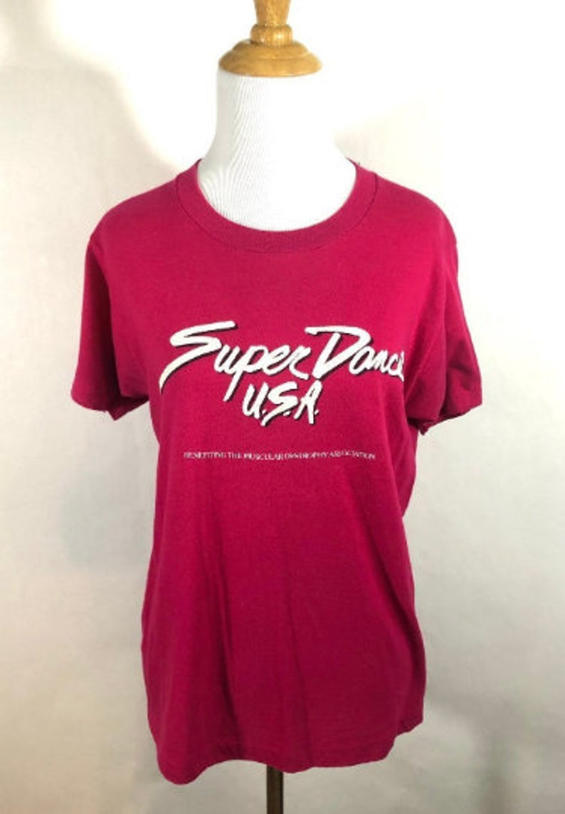 1980s Pink Super Dance USA T Shirt Size Medium Unisex 80s image 0
