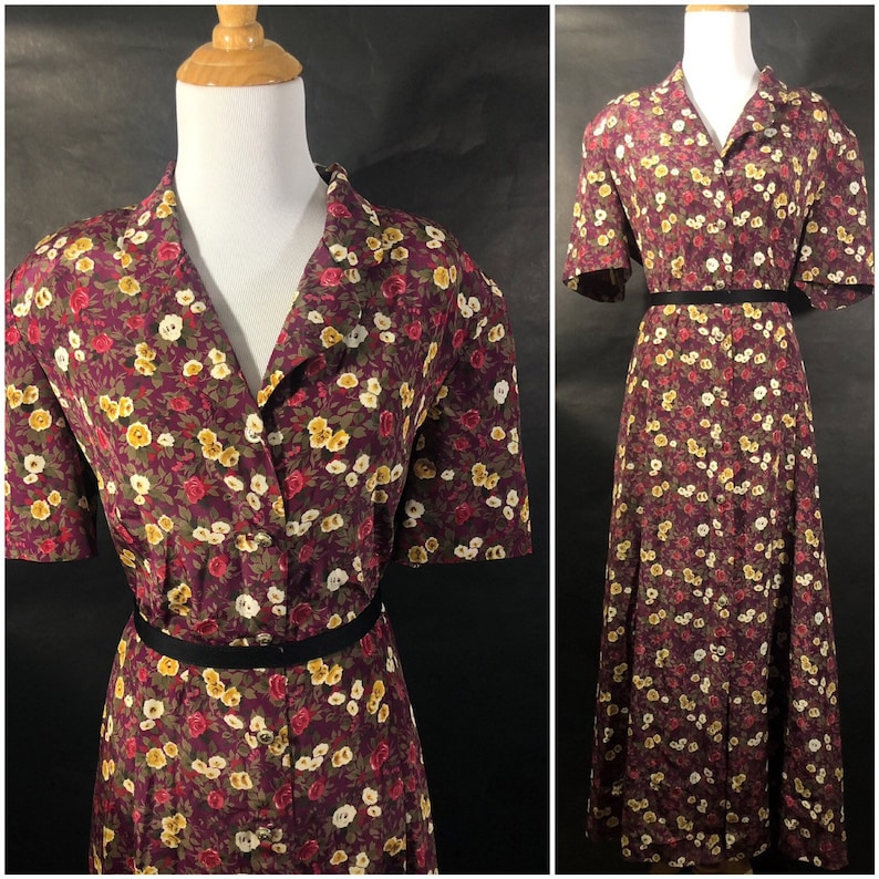 Cranberry Floral Button Down Dress by Leslie Fay with Tie image 0