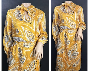 1960s Yellow, Brown, and Cream Paisley Gown by Miss Elliette California // Mustard Yellow Gown 1960s