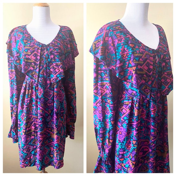 90s Purple and Pink Geometric Print Dress by Rosey