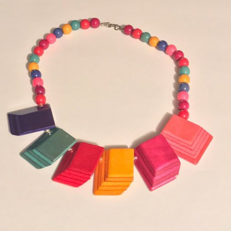 Multicolored Wooden Beaded Necklace // Vintage Colorful Wooden image 0
