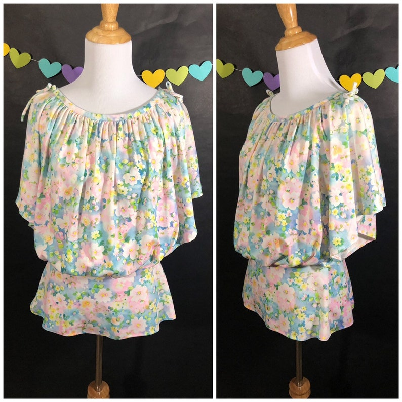 70s Pastel Floral Peasant Blouse with Shoulder Ties image 0