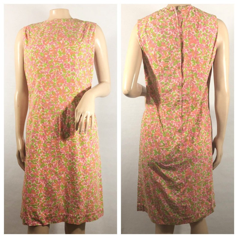 1960s Orange Floral and Paisley Handmade Shift Dress image 0
