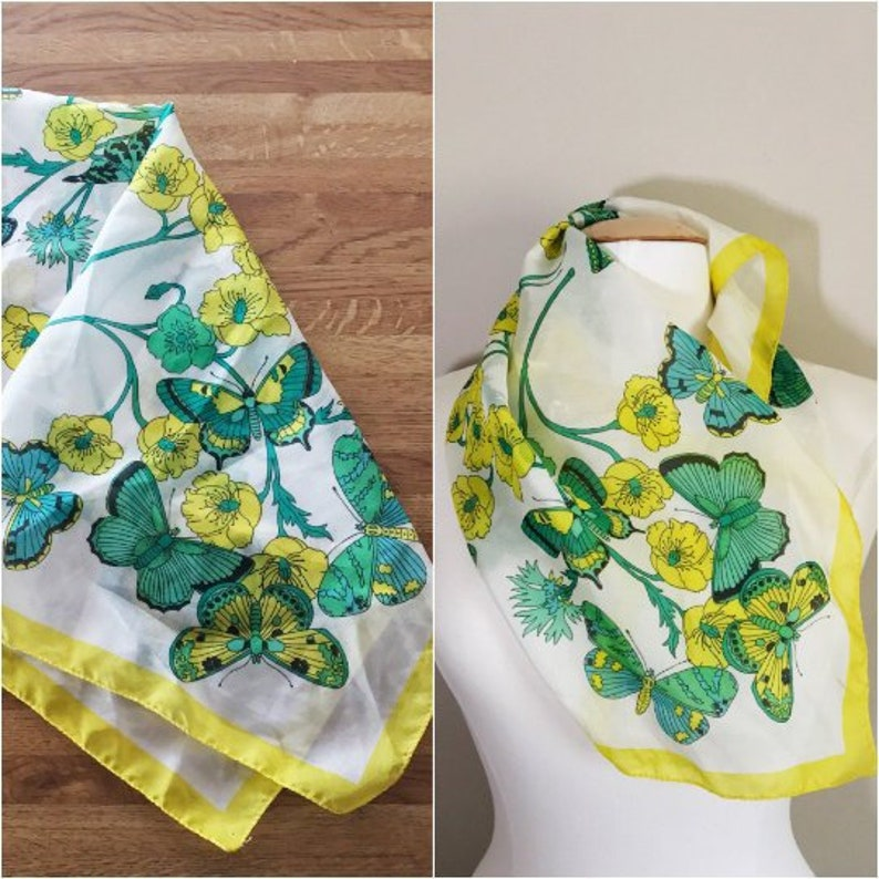 Beautiful Bright Butterfly Print Scarf // Yell ow Green and image 0