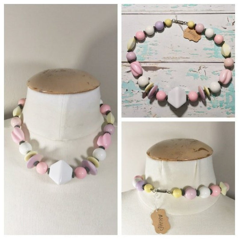 Vintage Pastel Beaded Necklace // Pink Purple Yellow White image 0