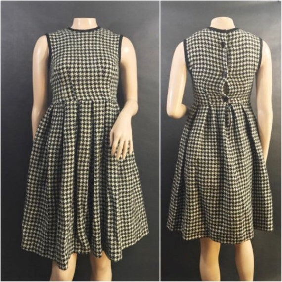 1950s Black and White Houndstooth Dress by Petti /