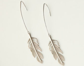 Silver Feather Earrings, Feathers of Flight
