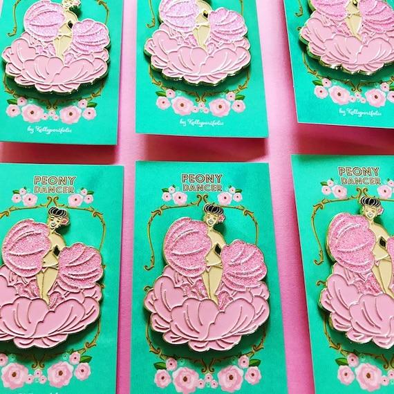 Peony Dancer soft enamel pin with glitter