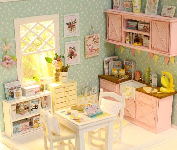 Summer Aqua Kitchen 1/10 Miniature Dollhouse Diorama