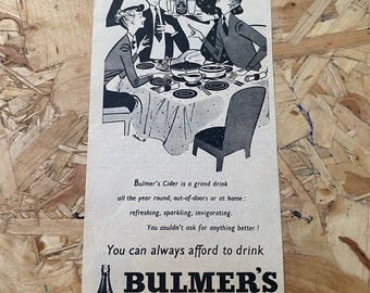 Original Vintage 1950/'s Bulmer/'s Cider black and white illustrated magazine advert print
