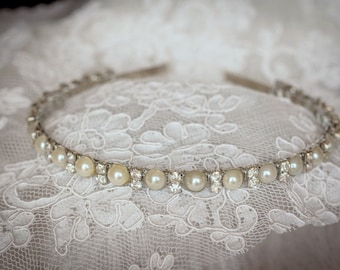 Flower girl Headband Rhinestones and Pearls Elegant Wedding Headband-Bridesmaid Headband- Flower Girl Headband