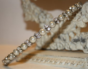 Headband Bridal- Bridal Headband - Rhinestones and Pearls Headband--Bridesmaid Headband- Flower Girl Headband- Prom Headband