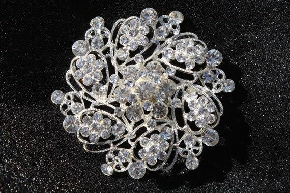 Reino Unido Plata Diamante cristal de Estrás Flor Broche Wedding Bridal Prom fiesta del Reino Unido