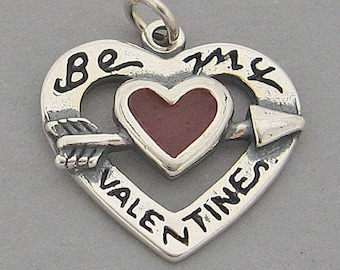 Red Enamel BE MY VALENTINE Sterling Silver Charm 44141