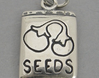 PACKET of VEGETABLE SEEDS Garden 3D Sterling Silver 925 Charm Pendant 42808