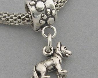 6fe90f345 3D GERMAN SHEPHERD Dog Solid Sterling Silver .925 European Dangle Bead  Miniature Charm 3544