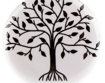 Black & White TREE of LIFE Ceramic Knob Dressers, Cabinets, Drawers or Hook