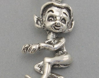 Sterling Silver 925 Charm Pendant PIXIE ELF Christmas Left Facing 4036
