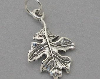 Sterling Silver .925 Charm Pendant Fall Autumn OAK LEAF SC554