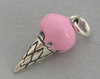 STRAWBERRY ICE CREAM Cone 3d Enamel Sterling Silver Charm Pendant 42146